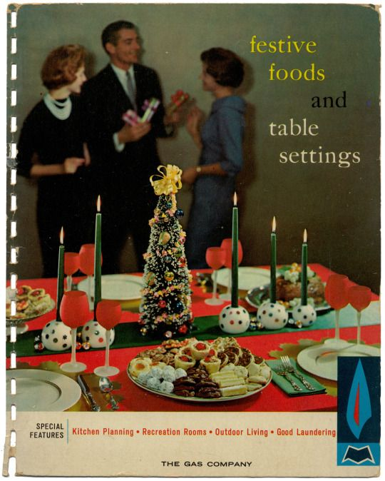Festive Foods and Table Settings, 1960 - Christmas Dinner, Tangerine Sauce, Savory Stuffing, Roast Stuffed Duck, Glazed Potatoes  http://www.amazon.com/gp/product/B002BM93U8/ref=cm_sw_r_tw_myi?m=A3FJDCC1SFO8CE