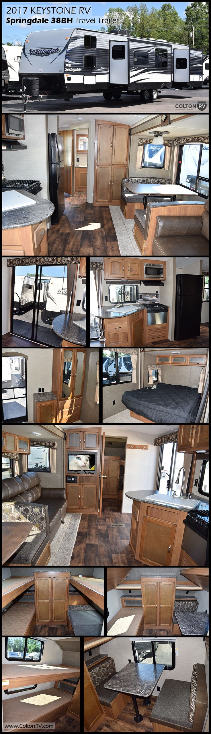 This spacious 2017 Keystone RV Springdale 38BH travel trailer offers a larger family many comforts of home with sleeping for nine, double slides for added space, glass patio doors and so much more! Kids will love the private bunkhouse up front featuring a kid's dinette which converts into a bunk. The rear of this trailer features a queen bed slide, wardrobe and private entry door.