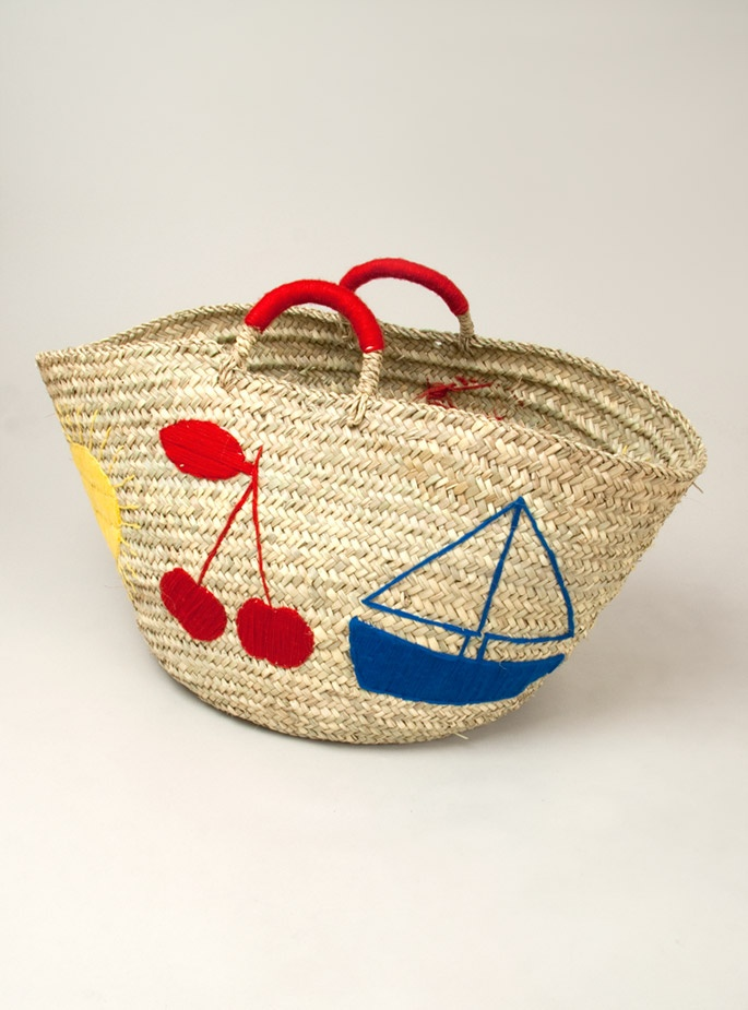 ok, so we're all gonna need one of these. straw bag, sailboat, cherries, my goodness.