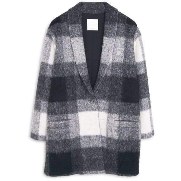 MANGO Check Wool-Blend Coat found on Polyvore featuring outerwear, coats, jackets, tops, wool blend coat, mango coat, lapel coat, long sleeve coat en print coat