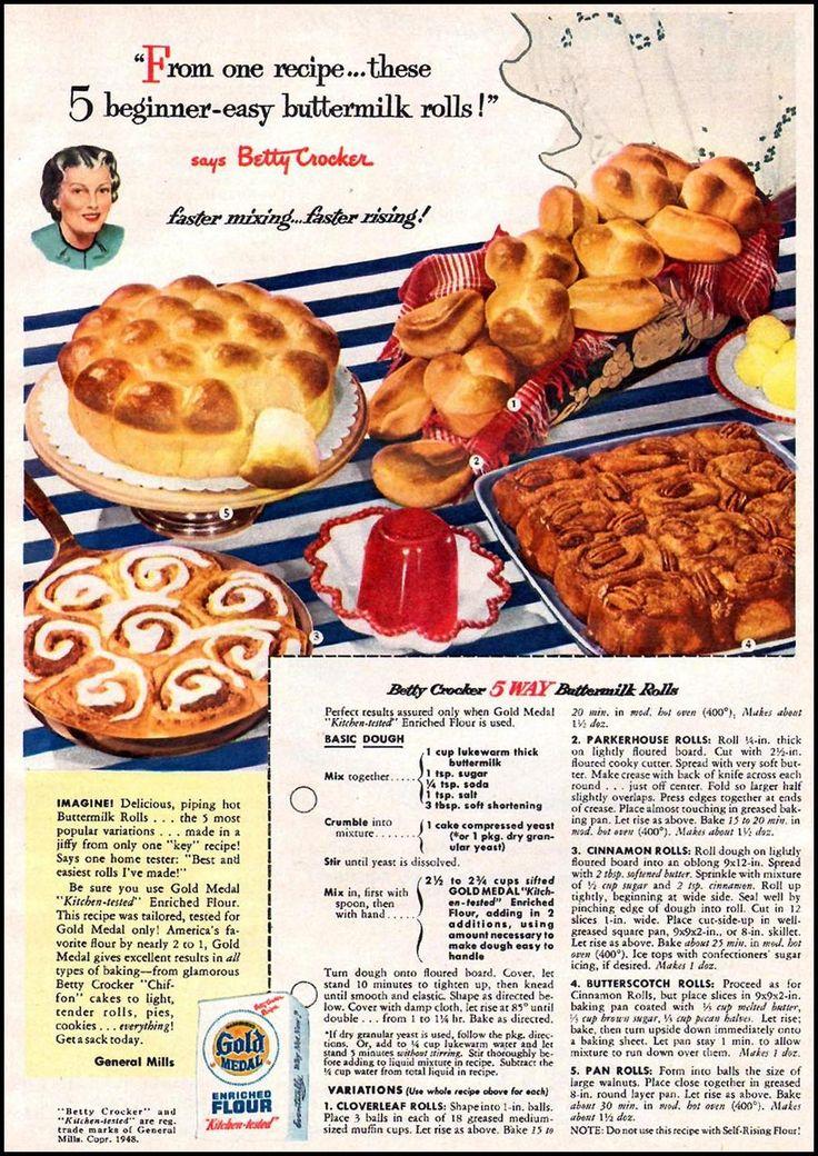 Betty Crocker 5-Way Buttermilk Rolls  WOMAN'S DAY 01/01/1949   p. 57