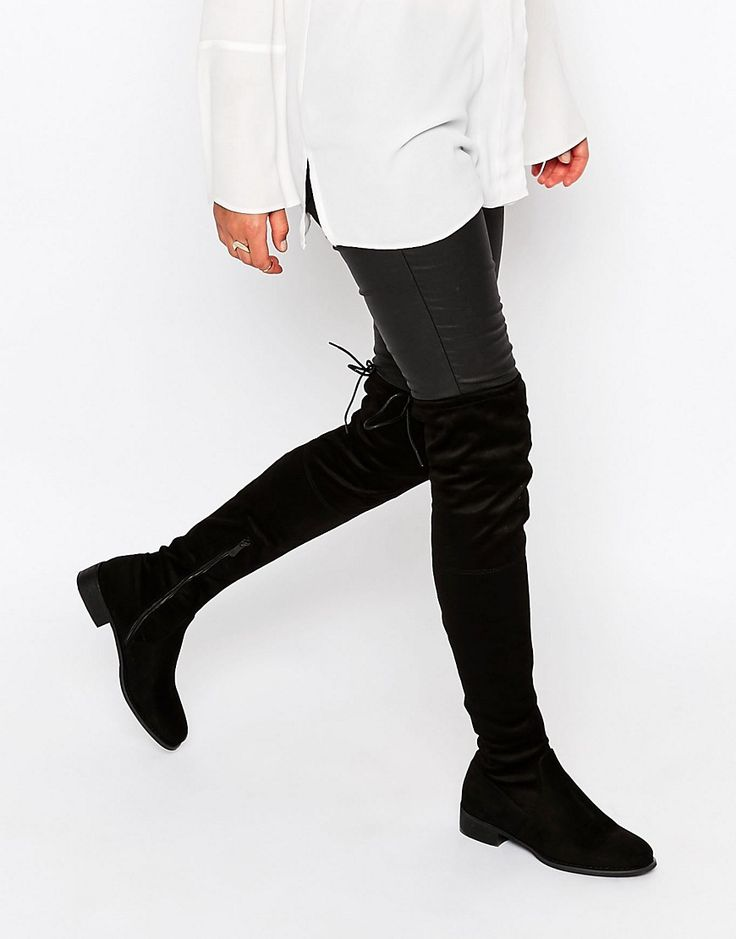 Image 1 ofPublic Desire Black Flat Tie Back Over The Knee Boot