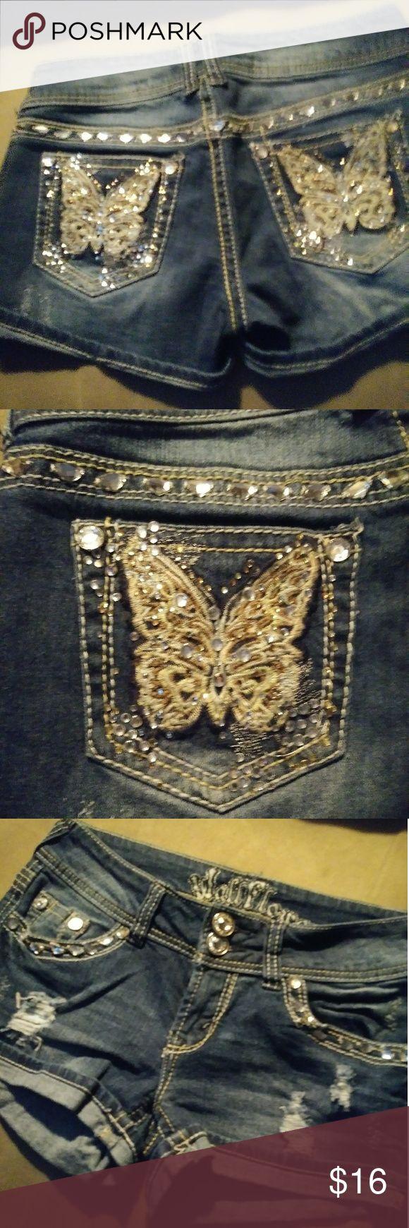 Wallflower jean shorts Wallflower size 5, gemstone detailing, butterfly on back pockets. Great condition Wallflower Shorts Jean Shorts