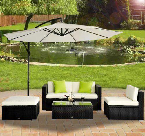 Outsunny 5pc Rattan Wicker Conservatory Furniture Garden Corner Sofa Outdoor Patio Furniture Set Aluminium Black (Parasol Not Included)