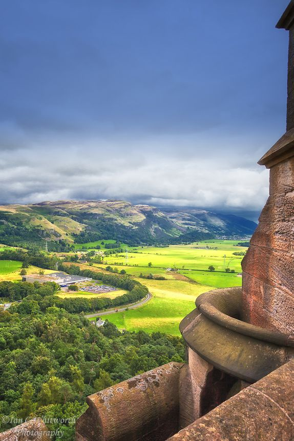 The view from the top of the National Wallace Monument in Stirling Scotland.