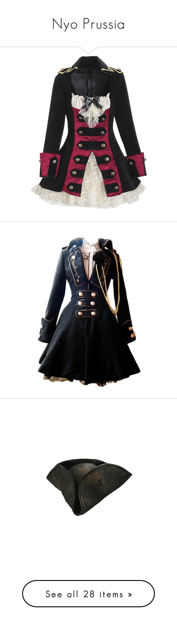 """""""Nyo Prussia"""" by fullmetalbutler ❤ liked on Polyvore featuring costumes, dresses, jackets, pirate, pirate captain costume, pirate costume, captain halloween costumes, captain costume, pirate halloween costumes and coats"""