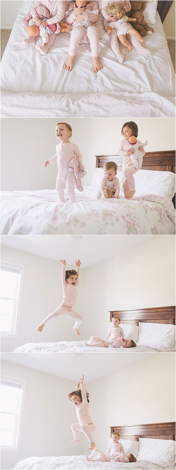 Children photography | Ideas for action photos of your family | lifestyle photos of 3 kids jumping on bed by Allison Corrin