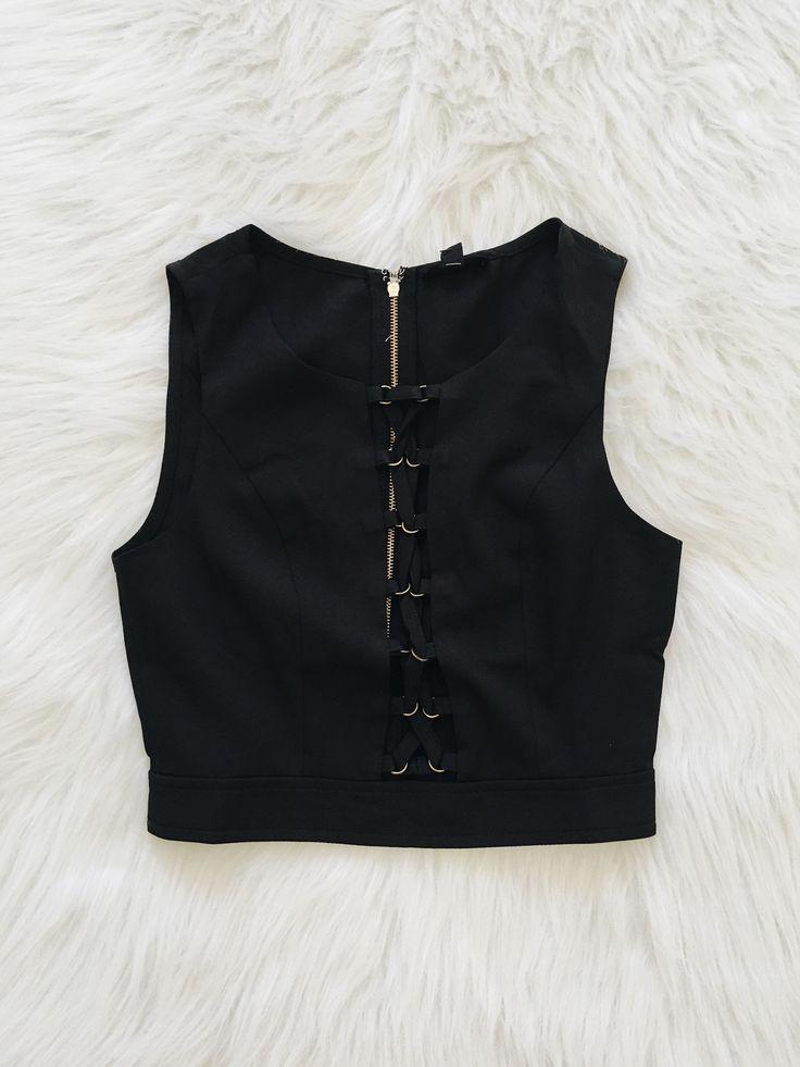 Lilia Laceup Crop Tank (Black)