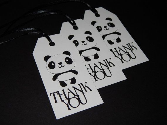 Panda Themed Thank you Tags  Loot Bag Tags  by OpulentOwlBoutique