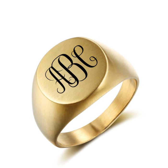FATHERS DAY SALE! 10% off + a Gift with your purchase of AU$80 or more + postage is included to most locations Worldwide! Voucher Code NO1DAD (T&C's Apply) >>>  Monogram Signet Ring - Round Gold Stainless Steel