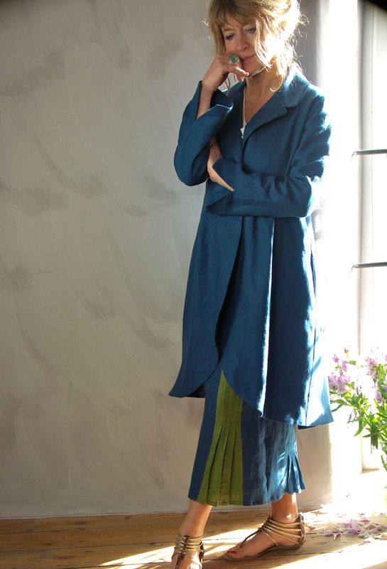Long Scoop Jacket £335, over Pleated inset Skirt £235.