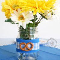 Oktoberfest Flowers in glass canning jar