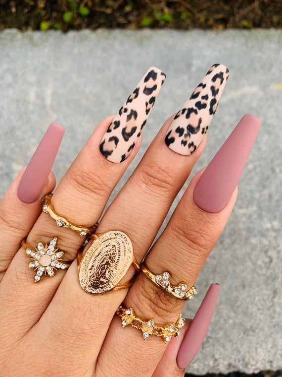 Cheetah Print Press On Nails Mauve Nails Any Shape And Size Fake Nails Matte Coffin Nai In 2020 Mauve Nails Coffin Nails Matte Leopard Nails