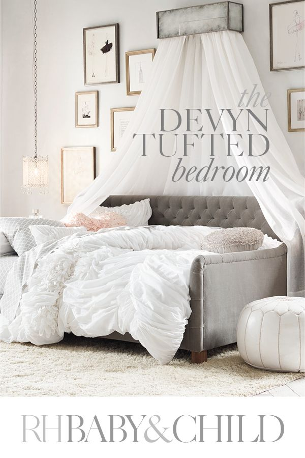 Generously tufted and infinitely inviting, our plush Devyn daybed is a welcoming haven for reading or lounging. Pair it with a flowing canopy, beautiful bedding and modern frames to create a feminine yet contemporary look for your little girl�s room. Save 25% on everything with the RH Members Program.