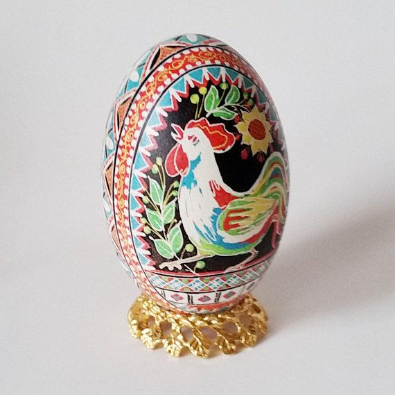 Goose pysanka with rooster Year of the Rooster Chinese New