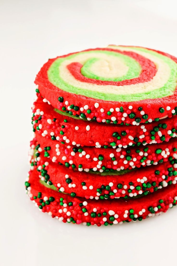 The Stay At Home Chef: Spiral Christmas Sugar Cookies ~ I'm getting all festive today with these spiral sugar cookies. It's all the deliciousness of my usual soft cream cheese sugar cookie, in a spiral colorful festive Christmas version, complete with sprinkles. - See more at: http://www.thestayathomechef.com/2014/11/spiral-christmas-sugar-cookies.html#sthash.H4yJCANn.dpuf