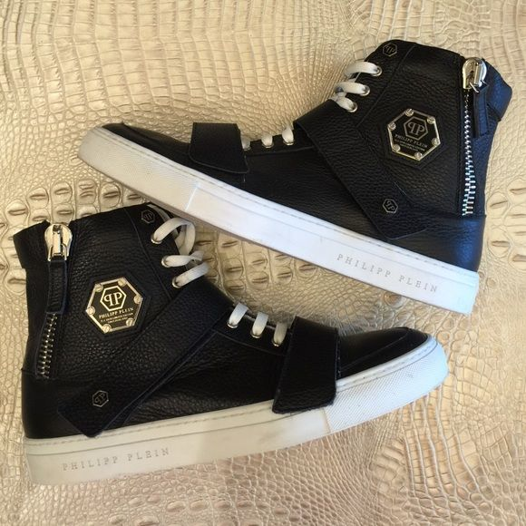 Men's Phillipp Plein High Top Sneakers Black leather with velcro straps and silver zipper. Great condition. Men's european size 43. Made in Italy. Phillip Plein Shoes Sneakers
