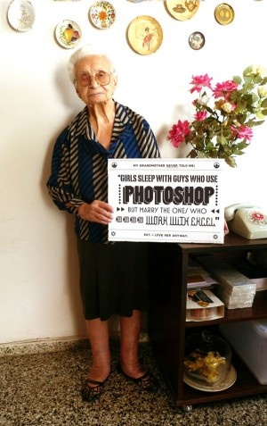 Granny's advice on the internet.. Photoshop v. Excel