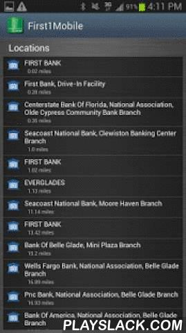 First1Mobile  Android App - playslack.com ,  FIRST BANK MOBILE BANKING APPBank on the go with the First Bank Mobile Banking App. Manage your accounts from your mobile phone when it's convenient for you. The First Bank Mobile Banking App combines the benefits of Internet banking with the power of AndroidTM phones, providing quick access to account information. FEATURES:The First Bank Mobile Banking App is fast, convenient and free and allows users to:• Check account balances• See recent…