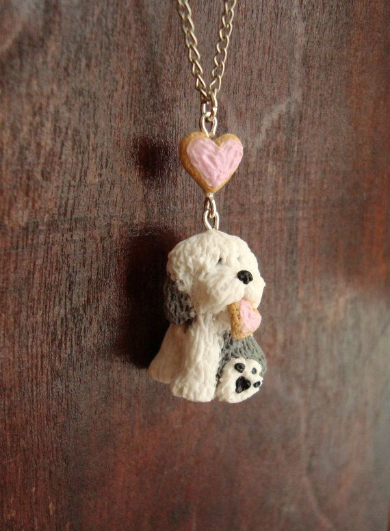 Old English Sheepdog Polymer Clay Necklace Pendant - Dog Jewelry - English Sheepdog Miniature - Cute Dog With Cookie Heart