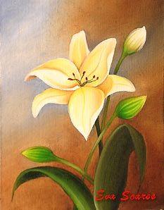 Pintura em tela - Aula on line de pintura em tela - Lirios - Eva Soares