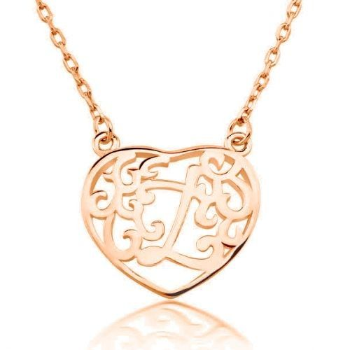 Heart Initial Pendants - Sterling Silver/Rose Gold - $12.00