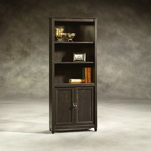 Sauder Edge Water 3 Shelf Library Bookcase With Doors Estate Black Bookcases Doors And Love This