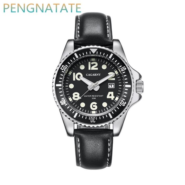 11.76$  Watch here - http://alizps.shopchina.info/go.php?t=32778029124 - CAGARNY Men Fashion Watch Date Display Business Sports Leather belt Watch Quartz Luxury Brands Men Waterproof Watches PENGNATATE  #SHOPPING