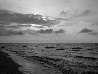 Evening sea bath B&W