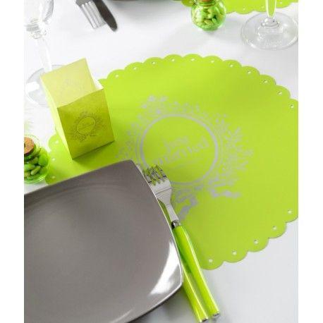 Set de table Just Married vert anis rond les 6
