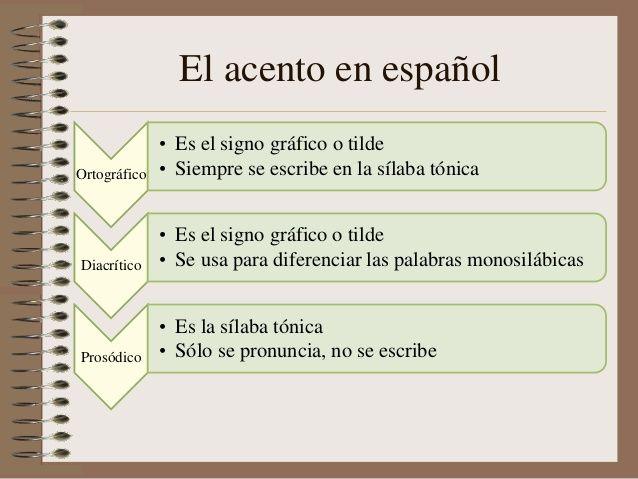 El acento en español  Ortográfico  •Es el signo gráfico o tilde  •Siempre se…