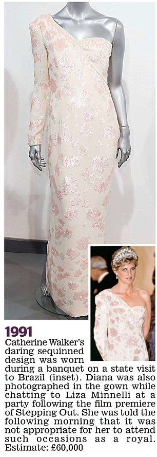 Catherine Walker's gown was worn on a state visit to Brazil by Diana in 1991