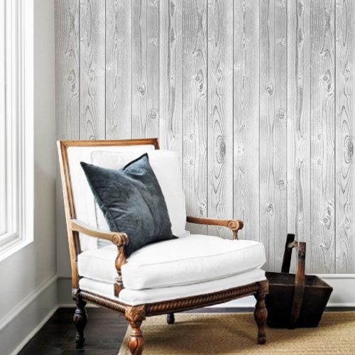Vintage white wood wallpaper peel stick for Wood wallpaper bedroom