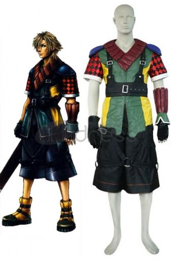 Final Fantasy XIII fans looking for an authentic costume for their anime event need to look no further than this fabulous Shuyin ensemble. It features a V-neck jacket with lots of colors and patterns, shoulder hardware and leather-like trim at the neck. A pair of comfortable, loose-fitting shorts are worn beneath the jacket and a pair of black gloves complete the ensemble – perfect for any Final Fantasy enthusiast.