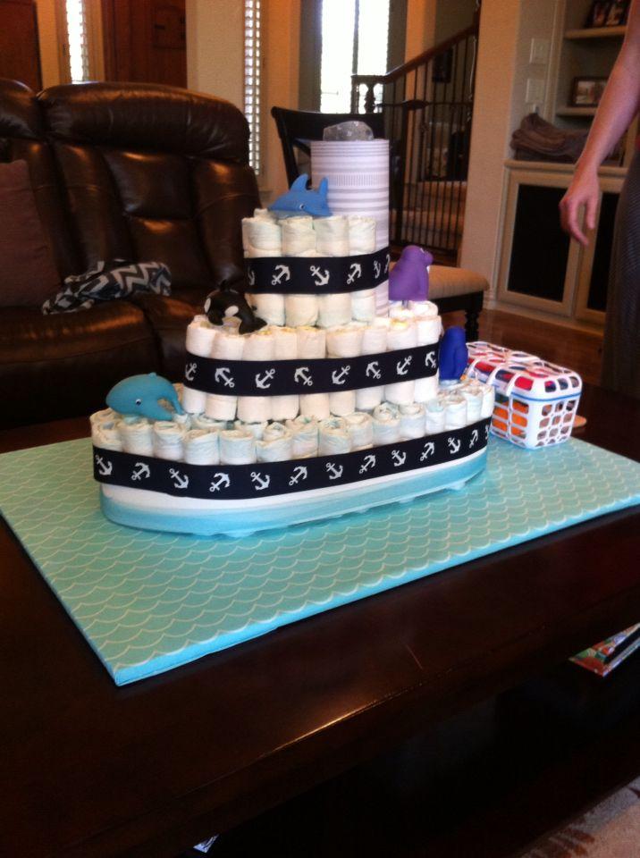 Ship Wheel Diaper Cake Instructions