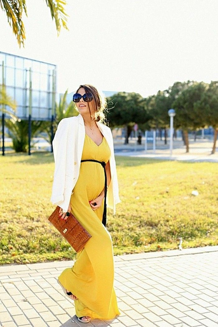 Yellow pregnancy dress for summer