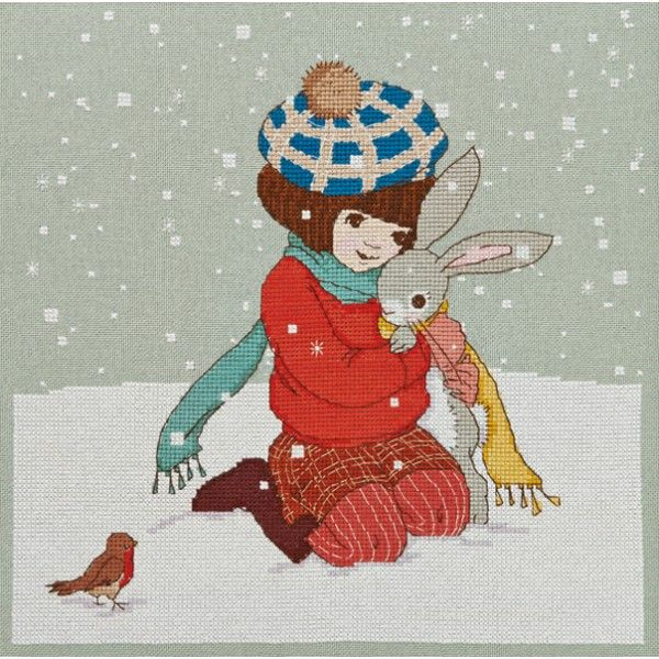 'Winter Hug' Cross Stitch Pattern - Belle & Boo