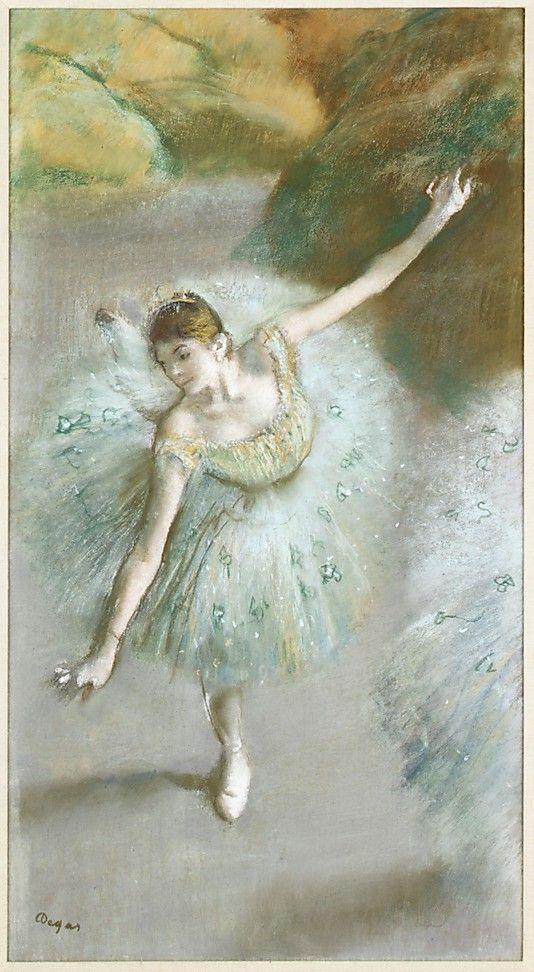 Dancer in Green Edgar Degas  (French, Paris 1834–1917 Paris)  Date:     ca. 1883 Medium:     Pastel on paper Dimensions:     Sheet: 27 15/16 x 14 15/16 in. (71 x 37.9cm)