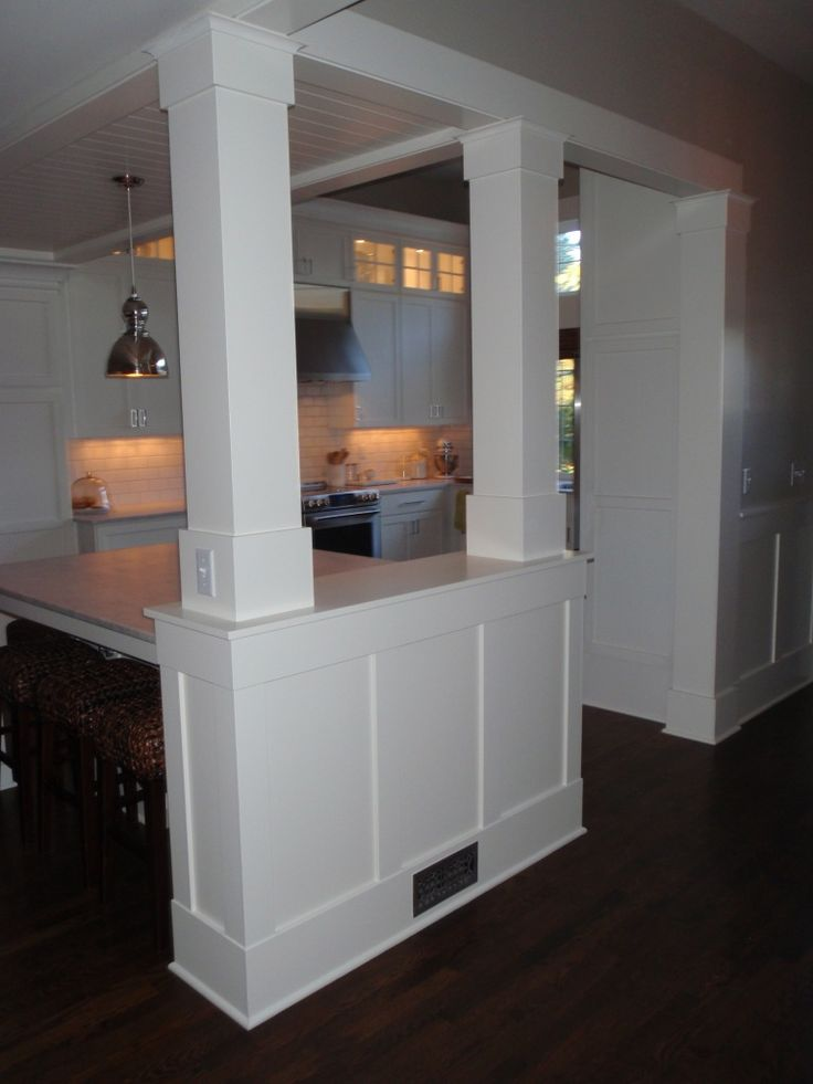 Half Wall With Pillars To Separate An Eat In Kitchen From