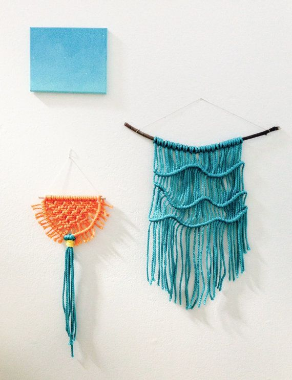Wall Hanging XIV - Waves on Wood, Turquoise Blue
