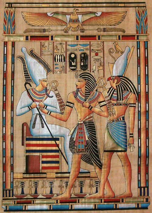 Pintura utilizando lei da frontalidade, retratando o faraó Seti I, junto aos deuses Orísis (sentado), Ísis (parte superior, com asas) e Hórus (lado direito).