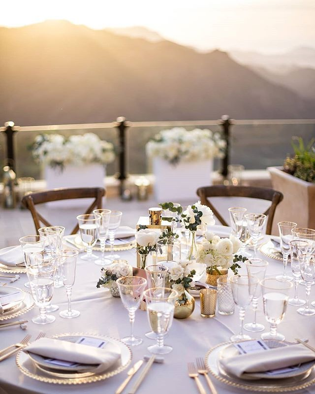 A Whimsical Reception With Rprclient Premiere Rents Gold Beaded Chargers Marcel Go Wedding Dinner Table Decorations Wedding Inside Wedding Decor Inspiration