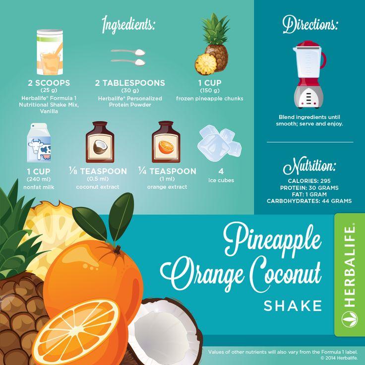 Recette Shake Formula 1 vanille Herbalife Ananas & Orange & Noix de coco