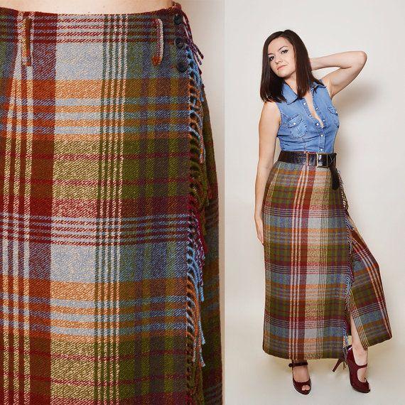 Wool Maxi Skirt, Plaid High Waisted, Long Mulberry Skirt, Boho, Bohemian, Festival skirt, Size M/38 Gift idea for woman, Six Vintage Chicks