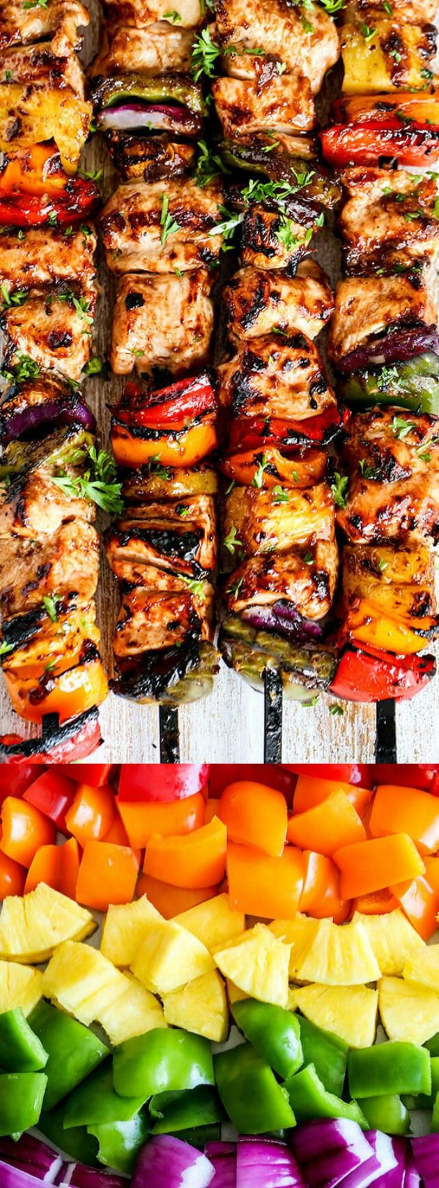 These Grilled Hawaiian Chicken Kabobs from Spend with Pennies have tender juicy chicken layered with a rainbow of veggies in a tangy Pineapple Honey BBQ Sauce.
