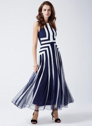 Poliéster Geométrico Sem magas Longo Elegante Vestidos de (1019377) @ floryday.com