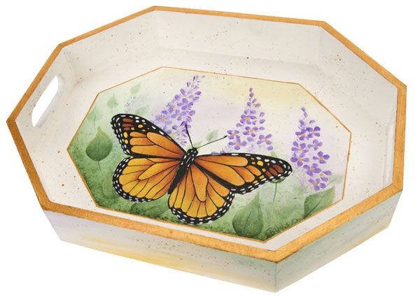 Monarch butterfly tray: Field, Ideas, Artists, Free Painting, Majestic Monarch, Acrylic, Decorative Painting, Dp Projects, Painting Patterns
