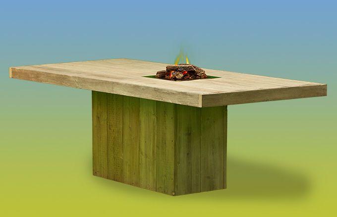 Esstisch aus Holz mit offenem Feuer » WITTEKIND
