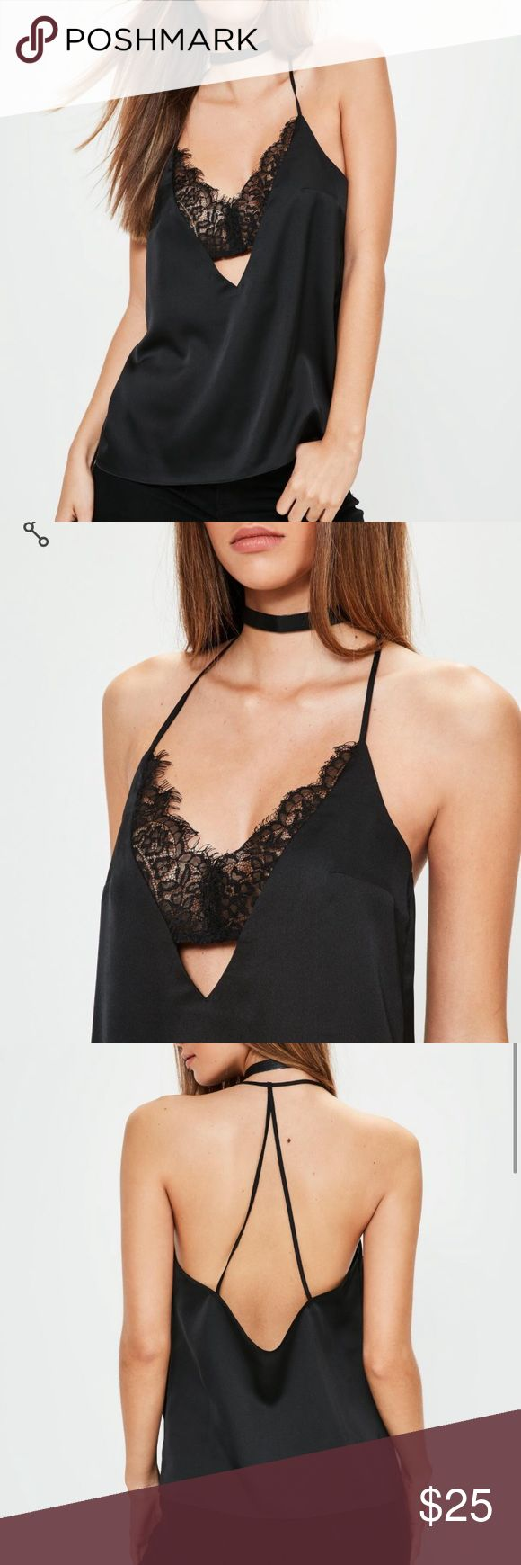 Spotted while shopping on Poshmark: NWT Black Satin Lace Insert Cami Top Sz 8! #poshmark #fashion #shopping #style #Missguided #Tops