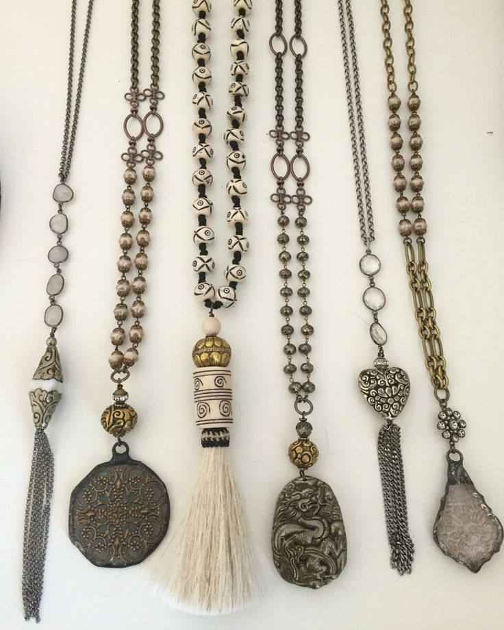 Boho / bohemian necklaces with vintage crystals, horsehair tassel, beads email lisajilljewelry@gmail.com for wholesale and retail purchases